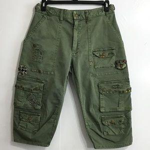 Robin's Jeans Military Patch Short Pant Sz 30 NWOT